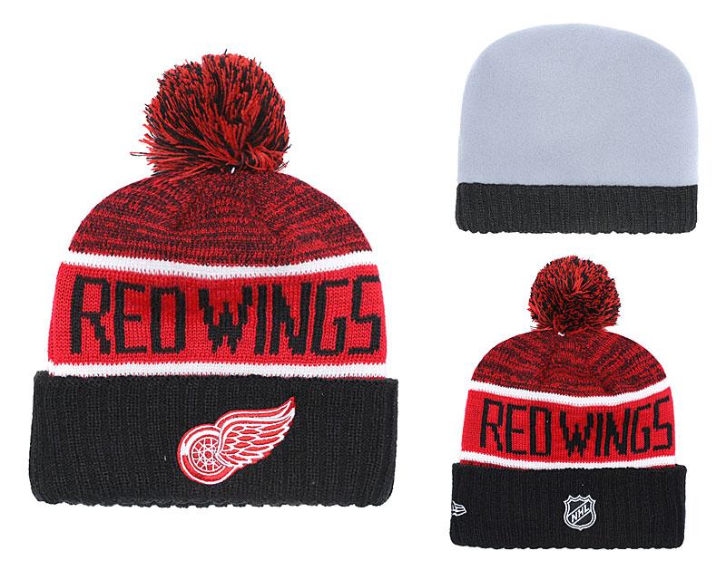 Red Wings Fresh Logo Black Pom Knit Hat YD