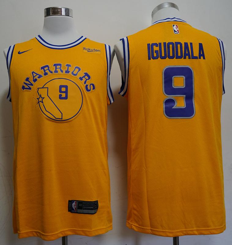 Warriors 9 Andre Iguodala Yellow Throwback Nike Swingman Jersey