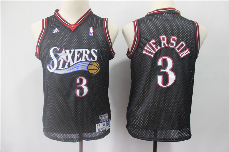 76ers 3 Allen Iverson Black Youth Hardwood Classics Jersey