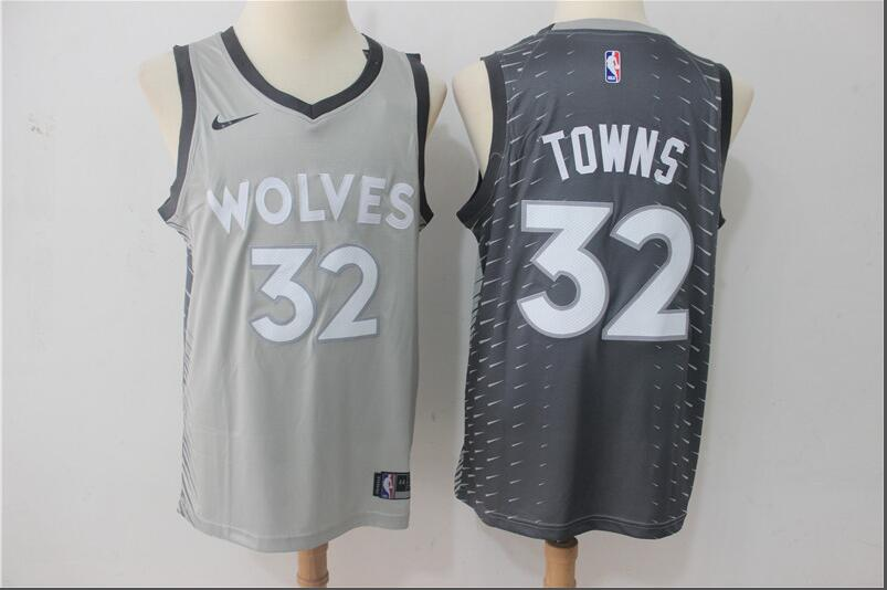 Timberwolves 32 Karl-Anthony Towns Gray City Edition Nike Swingman Jersey