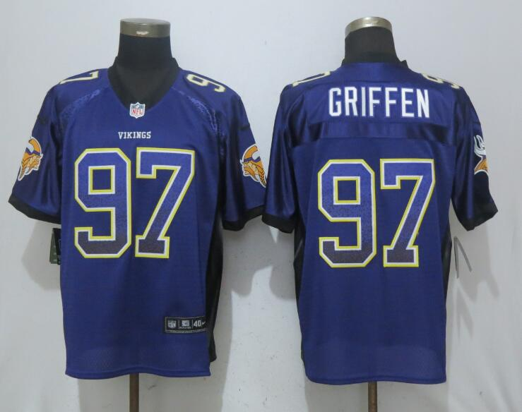 Nike Vikings 97 Everson Griffen Purple Drift Fashion Elite Jersey