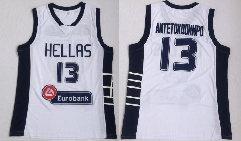 Team Greece Hellas 13 Giannis Antetokounmpo White National Basketball Jersey