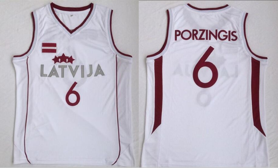 Team Latvija 6 Kristaps Porzingis White National Basketball Jersey
