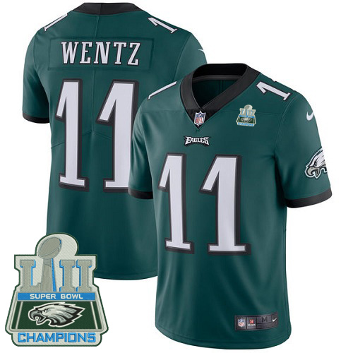 Nike Eagles 11 Carson Wentz Green 2018 Super Bowl Champions Youth Vapor Untouchable Player Limited Jersey