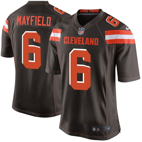 Nike Browns 6 Baker Mayfield Brown 2018 NFL Draft Pick Elite Jersey