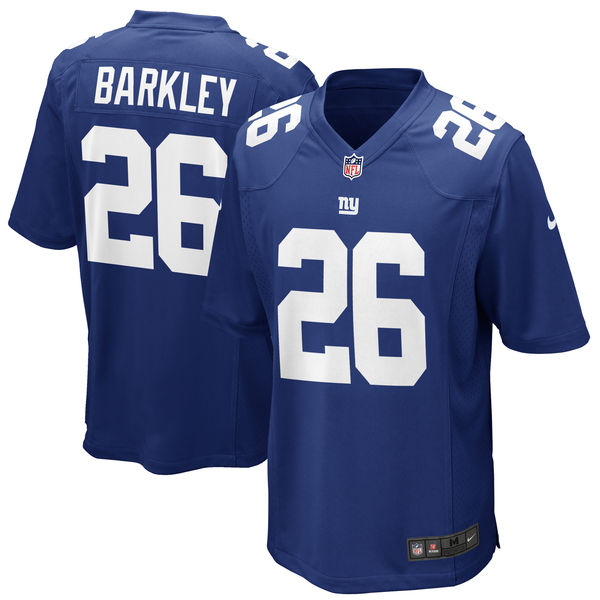 Nike Giants 26 Saquon Barkley Royal 2018 NFL Draft Pick Elite Jersey
