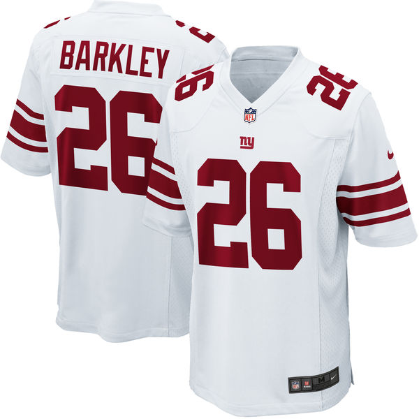 Nike Giants 26 Saquon Barkley White 2018 NFL Draft Pick Elite Jersey