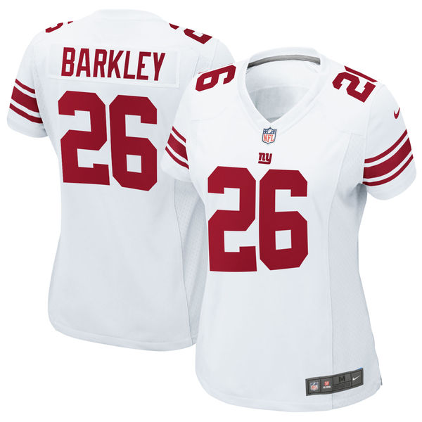 Nike Giants 26 Saquon Barkley White Women 2018 Draft Pick Game Jersey