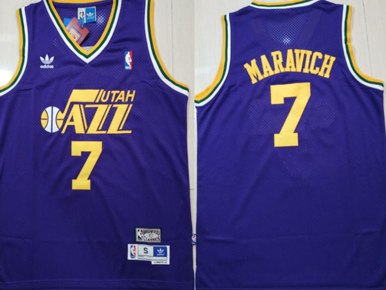 Jazz 7 Pete Maravich Purple Hardwood Classics Jersey