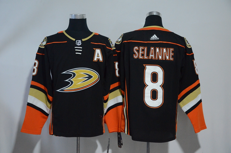 Ducks 8 Teemu Selanne Black Adidas jersey