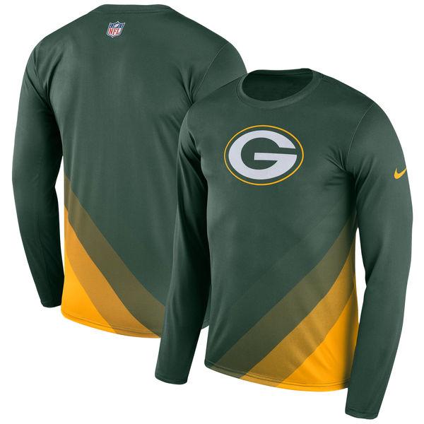Men's Green Bay Packers Nike Green Sideline Legend Prism Performance Long Sleeve T-Shirt