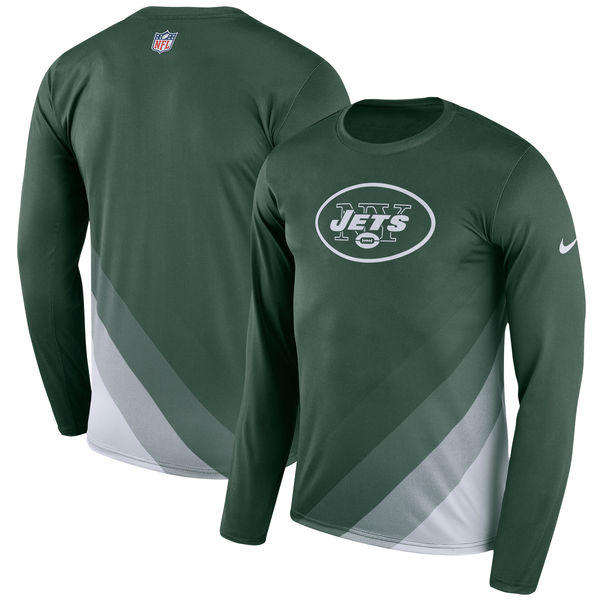 Men's New York Jets Nike Green Sideline Legend Prism Performance Long Sleeve T-Shirt