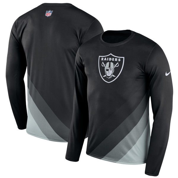 Men's Oakland Raiders Nike Black Sideline Legend Prism Performance Long Sleeve T-Shirt