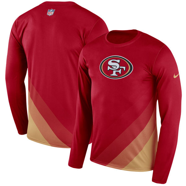 Men's San Francisco 49ers Nike Scarlet Sideline Legend Prism Performance Long Sleeve T-Shirt