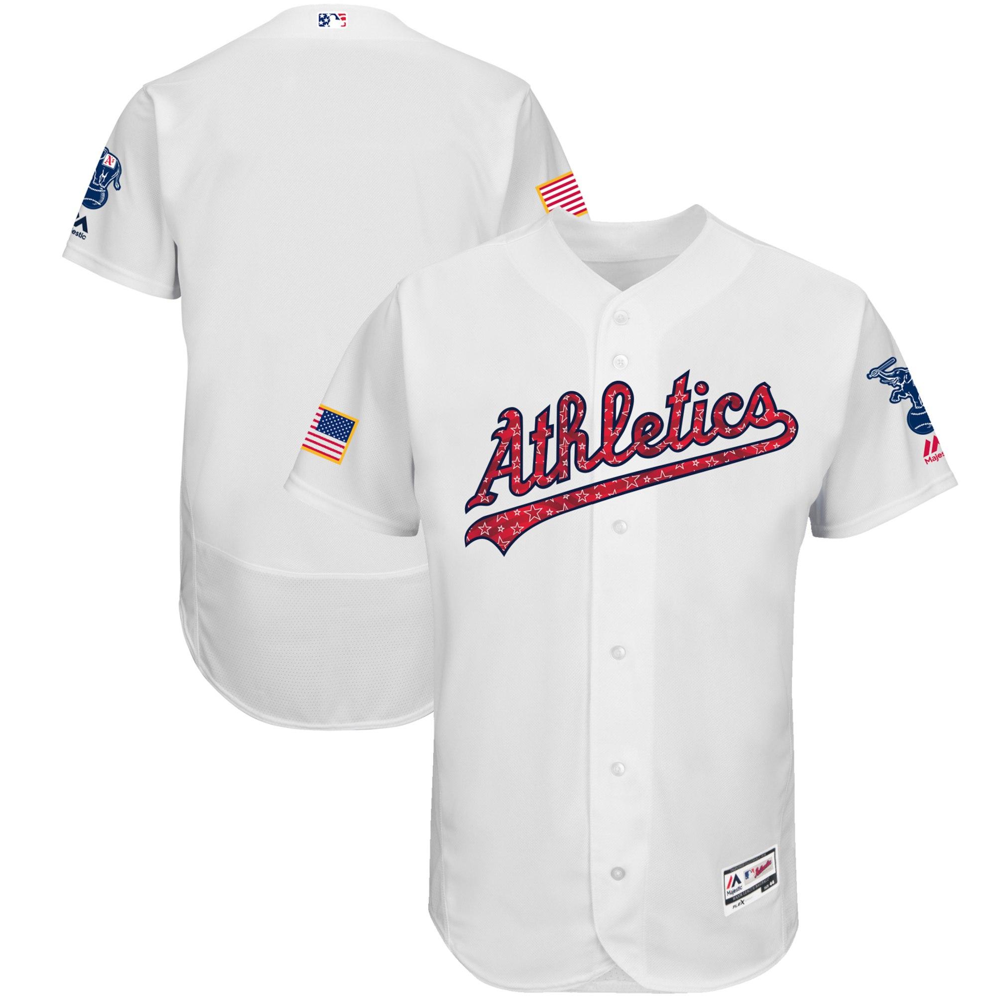 Athletics White 2018 Stars & Stripes Flexbase Jersey