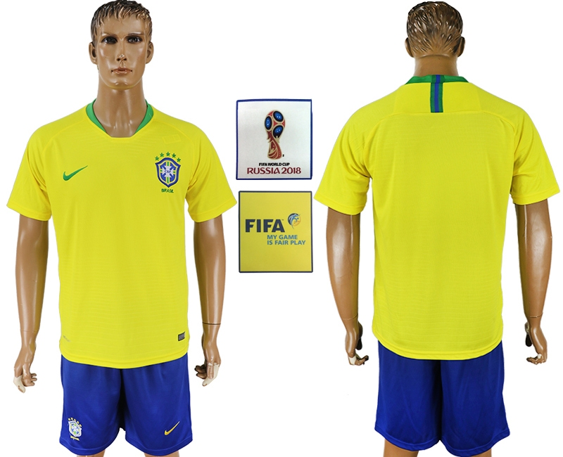 Brazil Home 2018 FIFA World Cup Men's Customized Jersey
