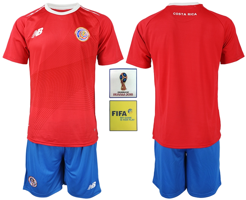 Costa Rica Home 2018 FIFA World Cup Men's Customized Jersey