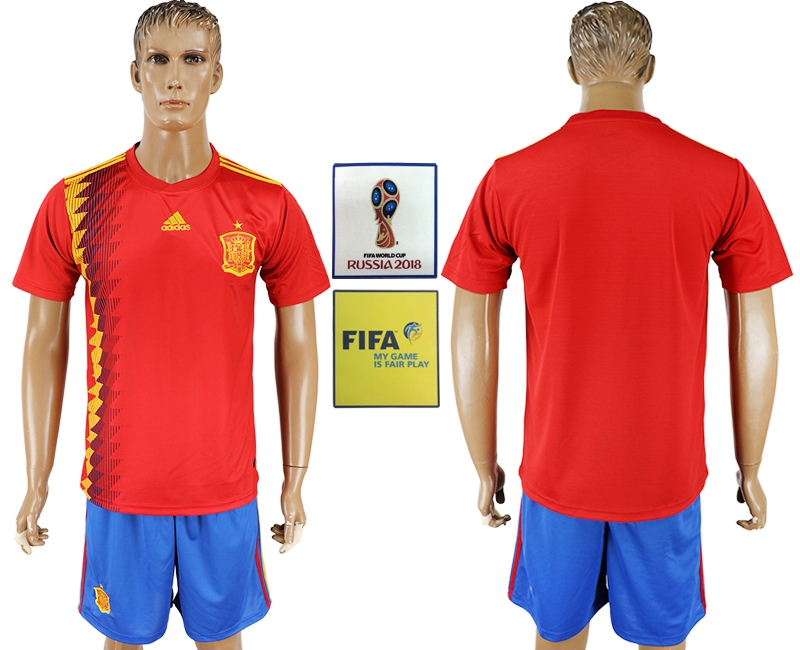 Spain Home 2018 FIFA World Cup Men's Customized Jersey