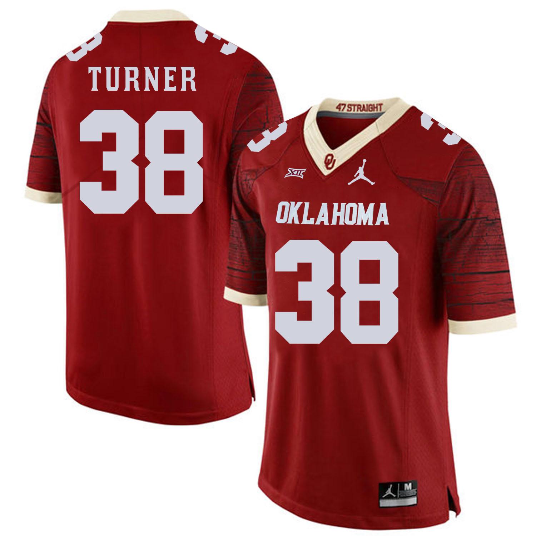 Oklahoma Sooners 38 Reggie Turner Red 47 Game Winning Streak College Football Jersey