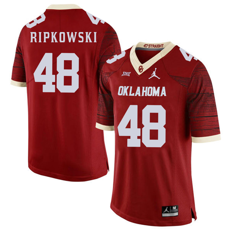 Oklahoma Sooners 48 Aaron Ripkowski Red 47 Game Winning Streak College Football Jersey