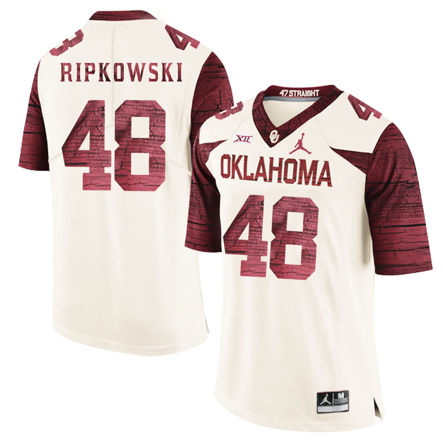 Oklahoma Sooners 48 Aaron Ripkowski White 47 Game Winning Streak College Football Jersey