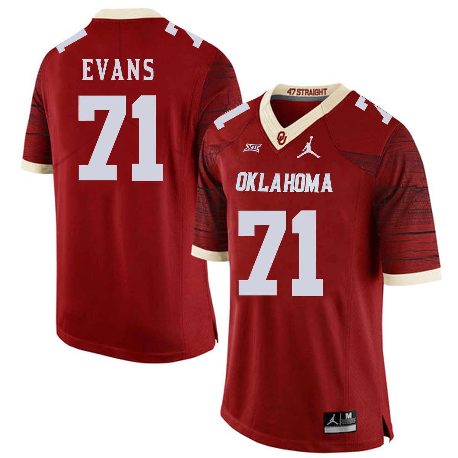Oklahoma Sooners 71 Bobby Evans Red 47 Game Winning Streak College Football Jersey
