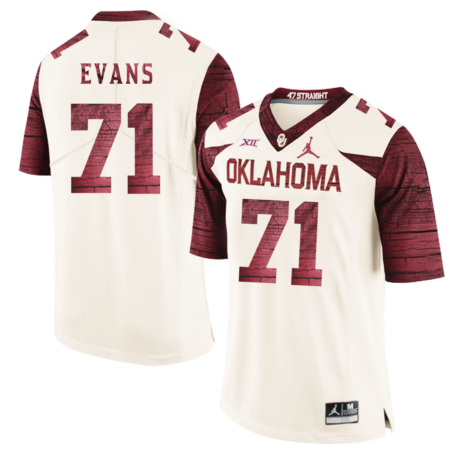 Oklahoma Sooners 71 Bobby Evans White 47 Game Winning Streak College Football Jersey