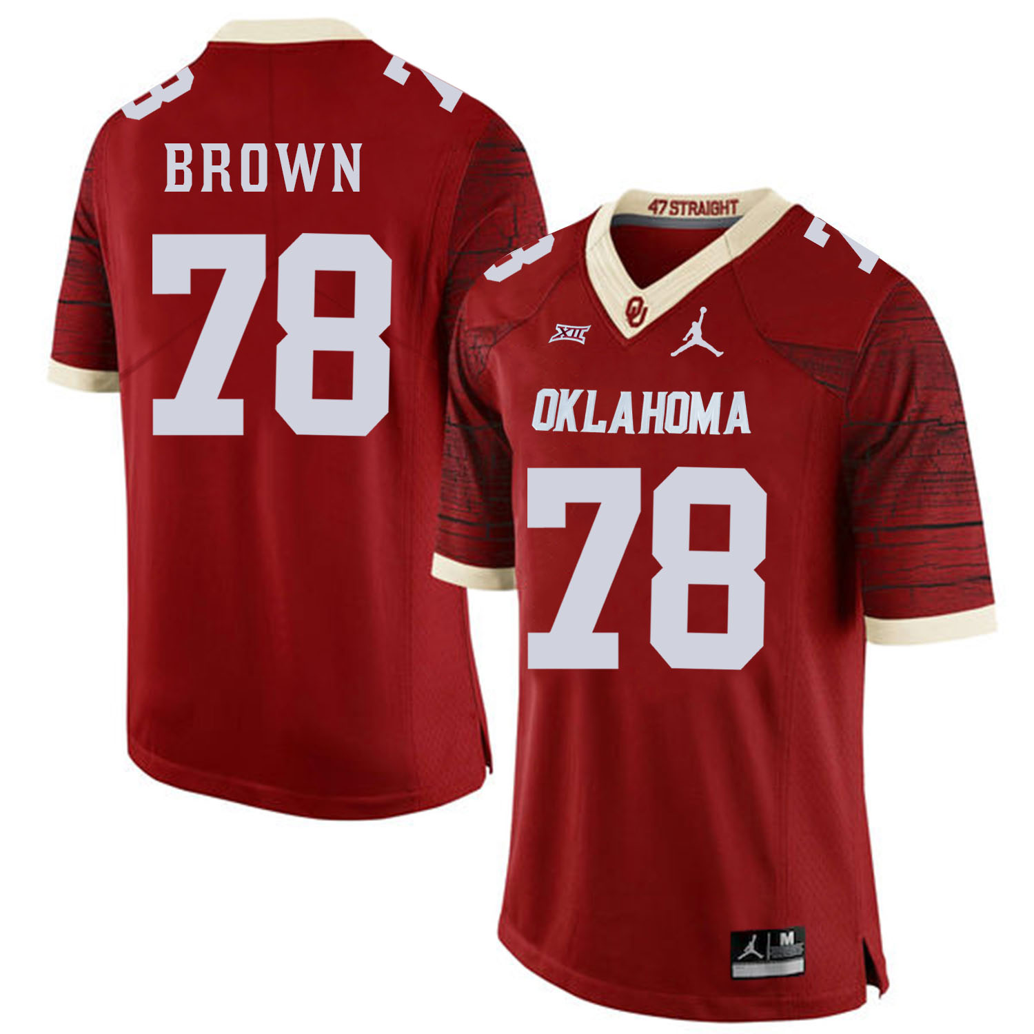 Oklahoma Sooners 78 Orlando Brown Red 47 Game Winning Streak College Football Jersey