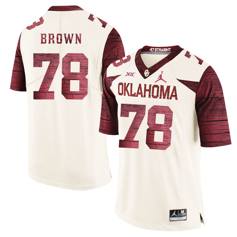 Oklahoma Sooners 78 Orlando Brown White 47 Game Winning Streak College Football Jersey