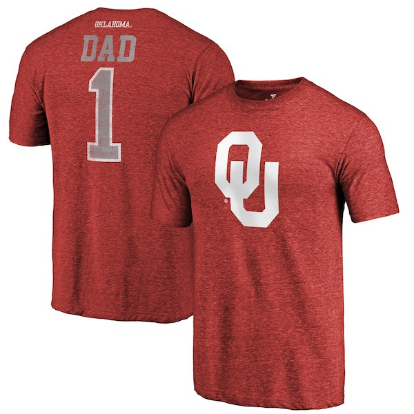 Oklahoma Sooners Fanatics Branded Crimson Greatest Dad Tri-Blend T-Shirt