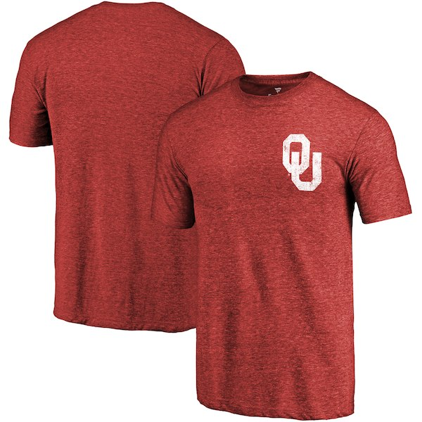Oklahoma Sooners Fanatics Branded Crimson Primary Logo Left Chest Distressed Tri-Blend T-Shirt