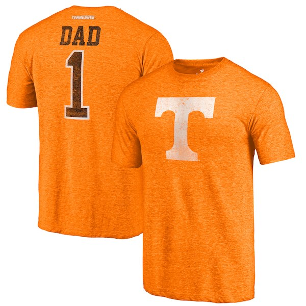 Tennessee Volunteers Fanatics Branded Tennessee Orange Greatest Dad Tri-Blend T-Shirt