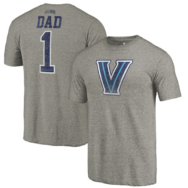 Villanova Wildcats Fanatics Branded Gray Greatest Dad Tri-Blend T-Shirt