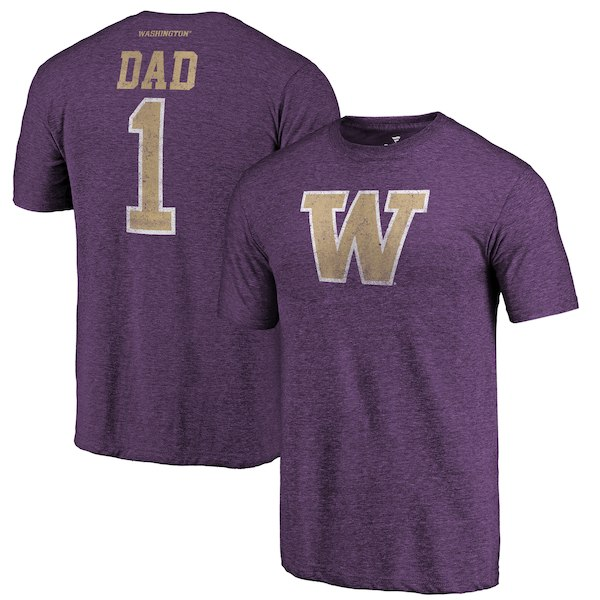 Washington Huskies Fanatics Branded Purple Greatest Dad Tri-Blend T-Shirt