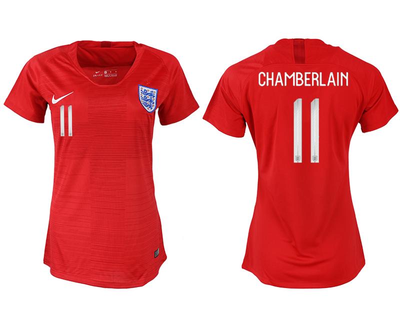 England 11 CHAMBERLAIN Away Women 2018 FIFA World Cup Soccer Jersey