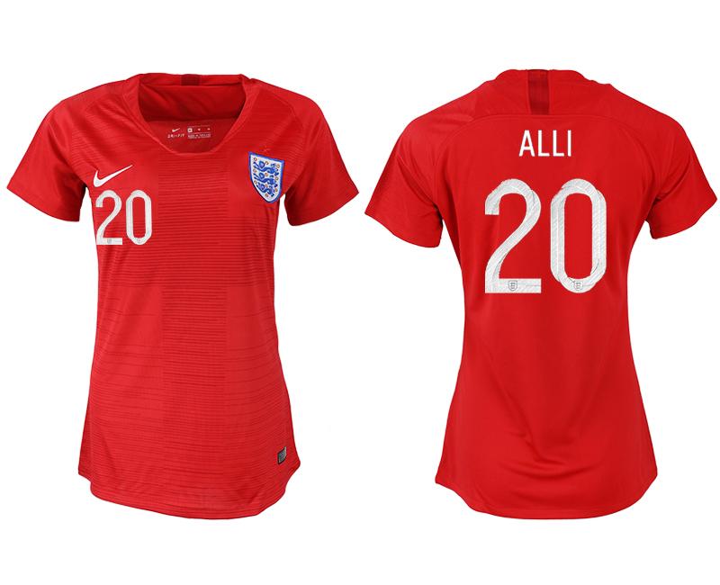 England 20 ALLI Away Women 2018 FIFA World Cup Soccer Jersey