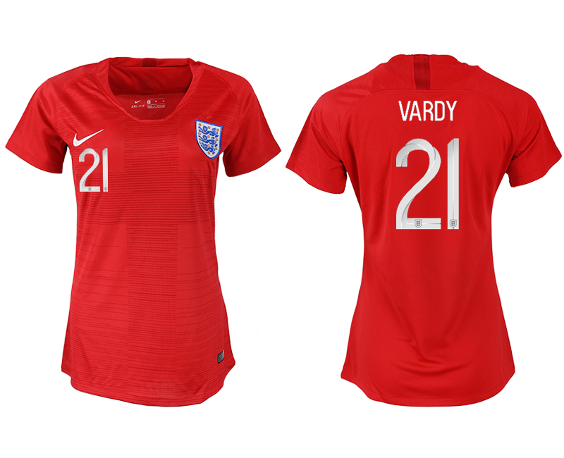 England 21 VARDY Away Women 2018 FIFA World Cup Soccer Jersey