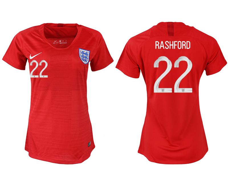 England 22 RASHFORD Away Women 2018 FIFA World Cup Soccer Jersey