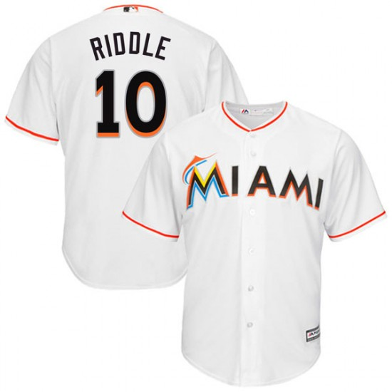 Marlins 10 JT Riddle White Cool Base Jersey
