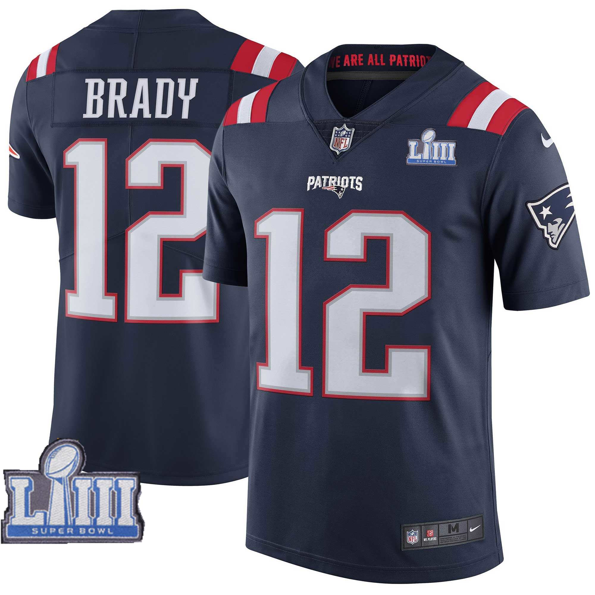 Nike Patriots 12 Tom Brady Navy 2019 Super Bowl LIII Color Rush Limited Jersey