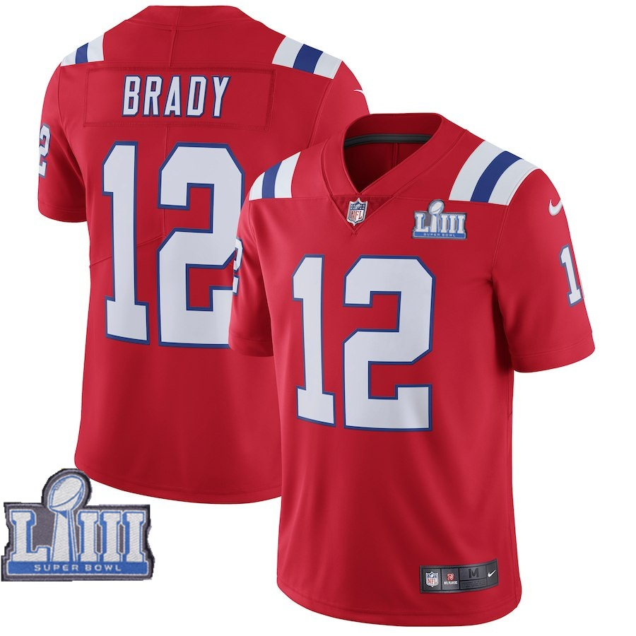 Nike Patriots 12 Tom Brady Red 2019 Super Bowl LIII Vapor Untouchable Limited Jersey