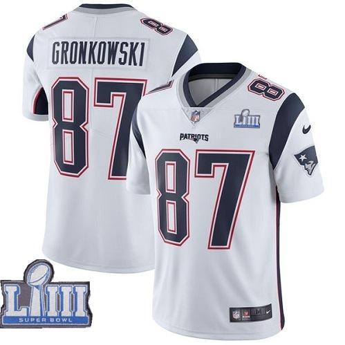 Nike Patriots 87 Rob Gronkowski White 2019 Super Bowl LIII Vapor Untouchable Limited Jersey