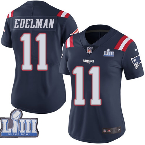 Nike Patriots 11 Julian Edelman Navy Women 2019 Super Bowl LIII Color Rush Limited Jersey
