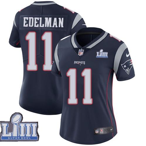 Nike Patriots 11 Julian Edelman Navy Women 2019 Super Bowl LIII Vapor Untouchable Limited Jersey