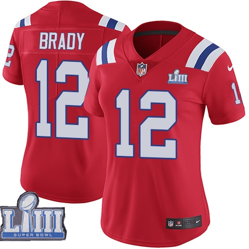 Nike Patriots 12 Tom Brady Red Women 2019 Super Bowl LIII Vapor Untouchable Limited Jersey