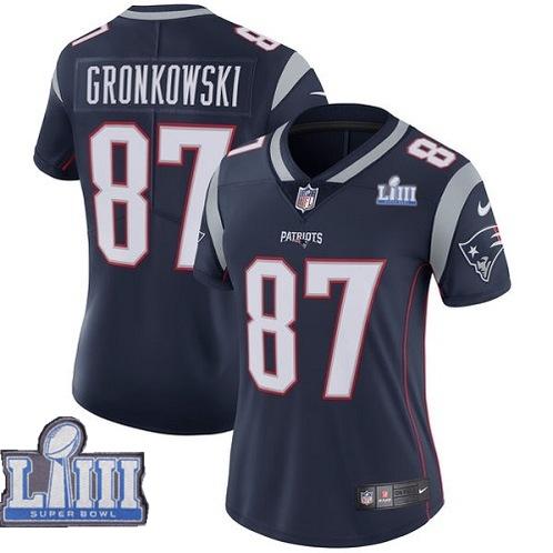 Nike Patriots 87 Rob Gronkowski Navy Women 2019 Super Bowl LIII Vapor Untouchable Limited Jersey