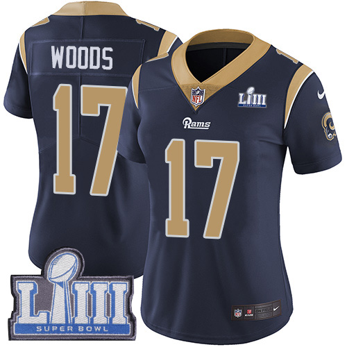 Nike Rams 17 Robert Woods Navy Women 2019 Super Bowl LIII Vapor Untouchable Limited Jersey