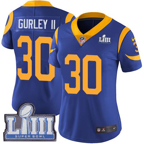 Nike Rams 30 Todd Gurley II Royal Women 2019 Super Bowl LIII Vapor Untouchable Limited Jersey