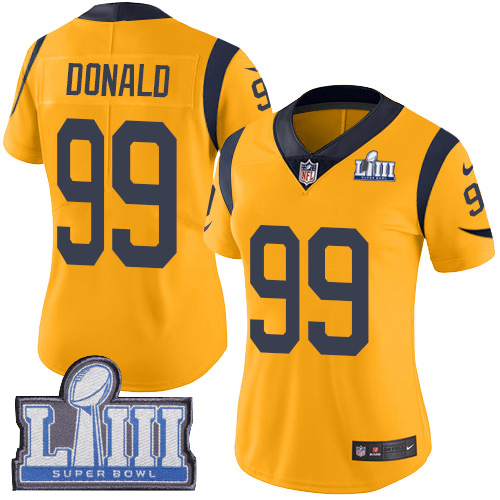 Nike Rams 99 Aaron Donald Gold Women 2019 Super Bowl LIII Color Rush Limited Jersey