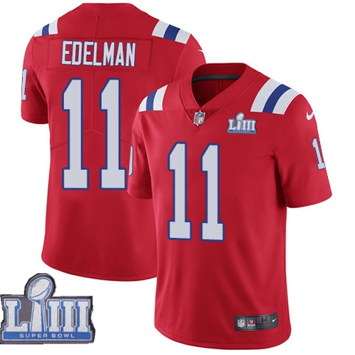Nike Patriots 11 Julian Edelman Red Youth 2019 Super Bowl LIII Vapor Untouchable Limited Jersey